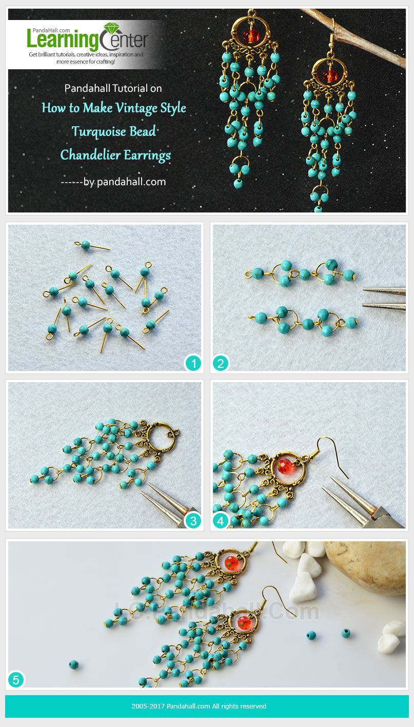 Pandahall tutorial on how to make vintage style turquoise bead pandahall tutorial on how to make vintage style turquoise bead chandelier earrings arubaitofo Image collections