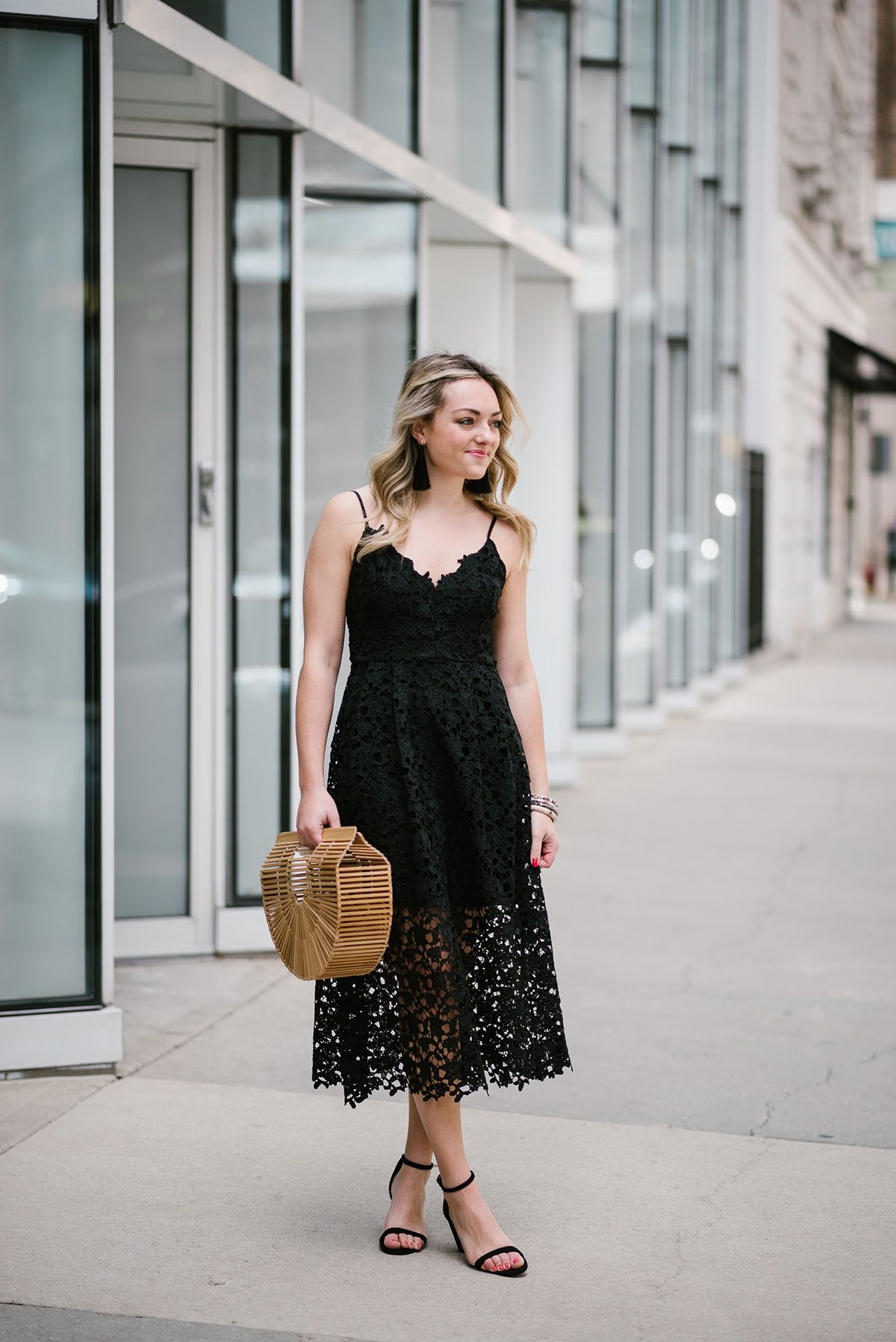 Bows Sequins Wearing A Black Lace Dress With Fringe Tassel Earrings Black Lace Midi Dress Lace Summer Dresses Wedding Guest Dress Summer