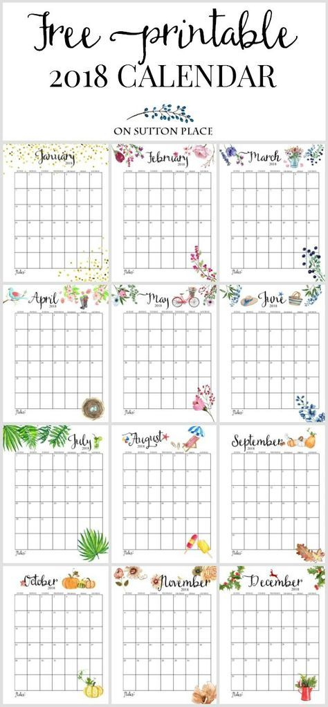 2018 Free Printable Monthly Calendar Free printable monthly - free printable monthly calendar