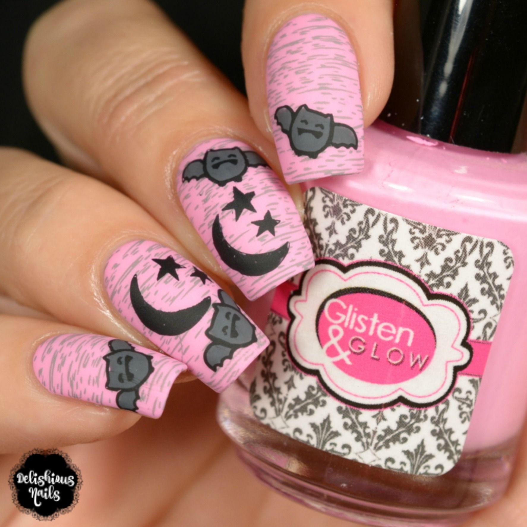 Halloween Bats Pink Nail Designs Pink Nail Art Halloween Nail Designs