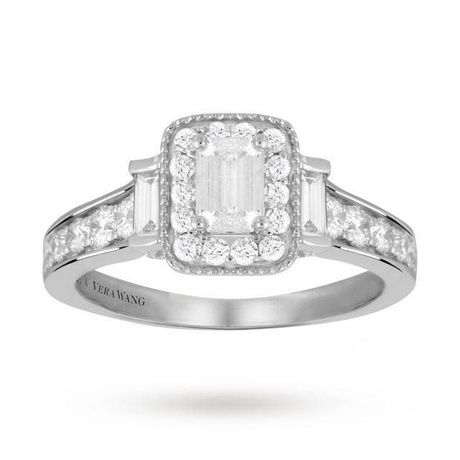 Vera Wang Love Emerald Cut 0.95 Carat Solitaire Diamond Ring in Platinum. |  rings | Pinterest | Solitaire diamond, Diamond rings and Weights
