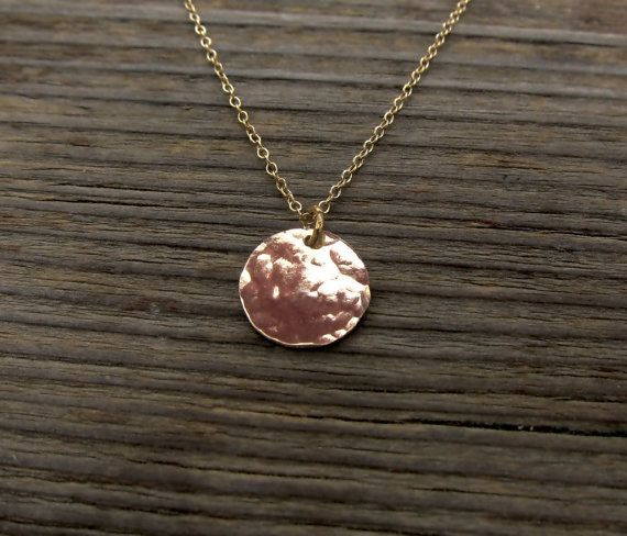 Gold dot necklace. Hammered coin disk gold filled by RimmaJewelry, $24.99
