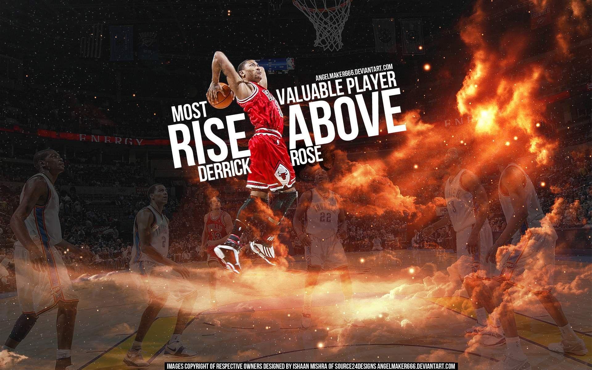 Nba You Are Going Over Fire Slam Dunk Nba Basketball Derrick Rose Cloud Derrick Rose Wallpapers Derrick Rose Chicago Bulls Wallpaper