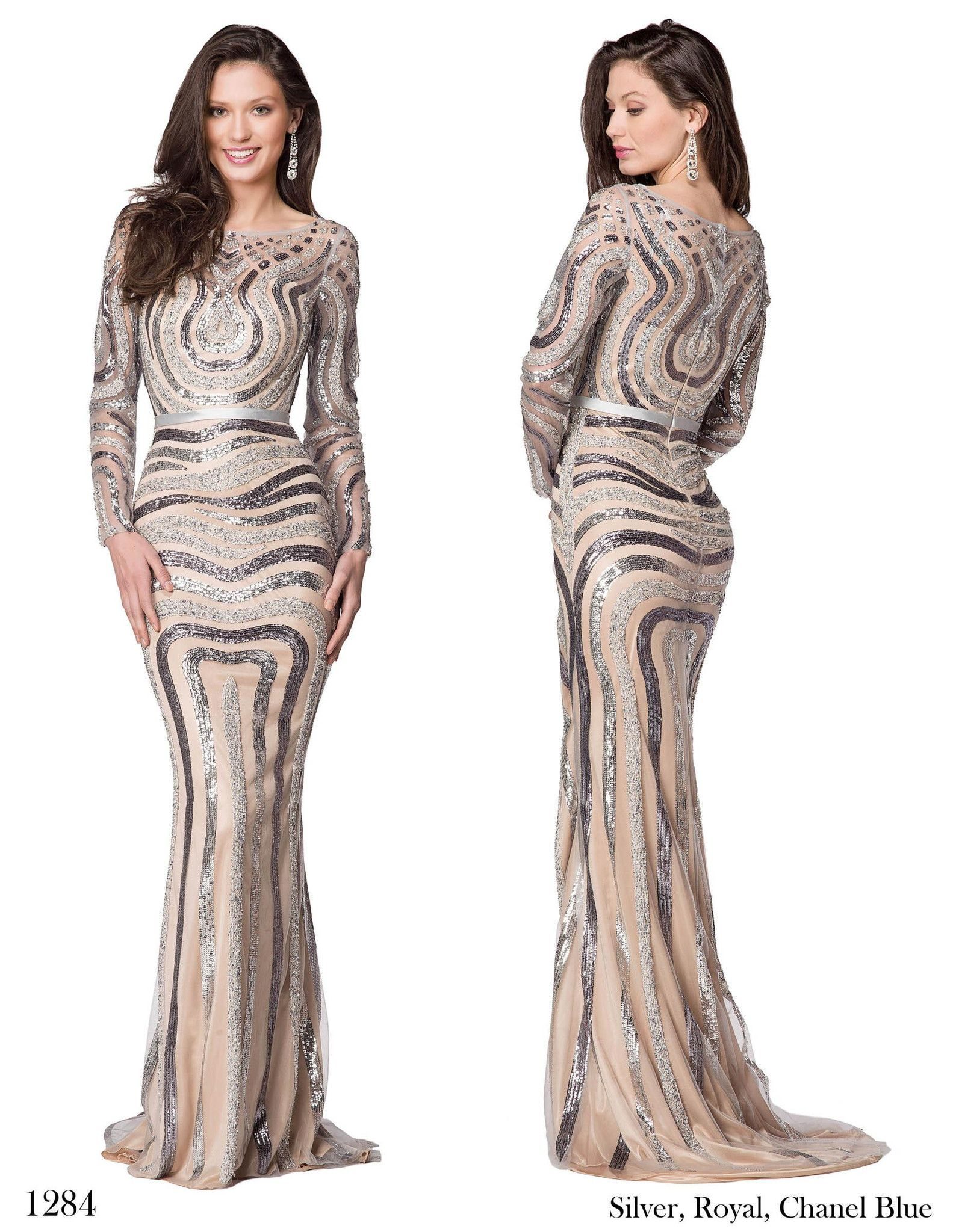 Colors in stock silver sz long sleeve sequin prom dress