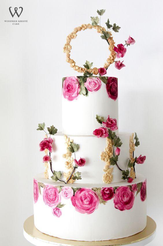 Stunning pink rose printed wedding cake with elegant gold detail; Featured Cake: Winifred Kristé Cake