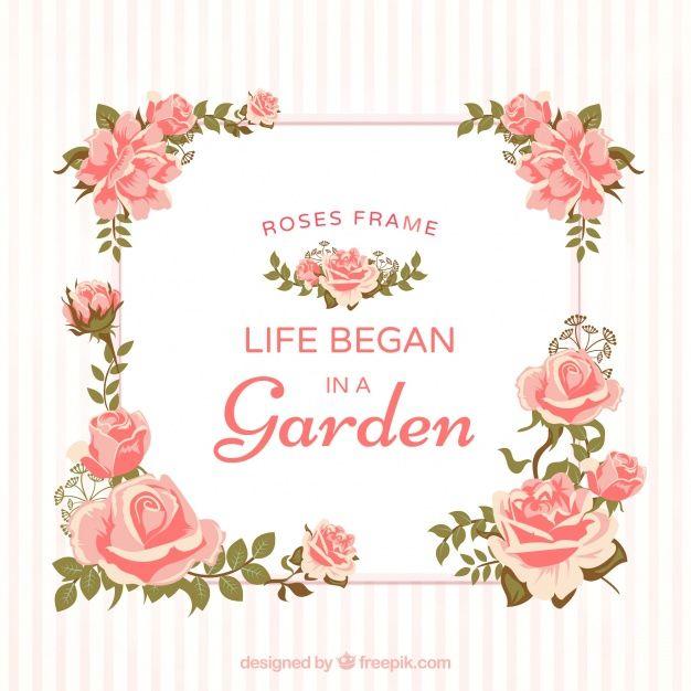 9cb5efe98a7b9 Marco decorativo de rosas Vector Gratis