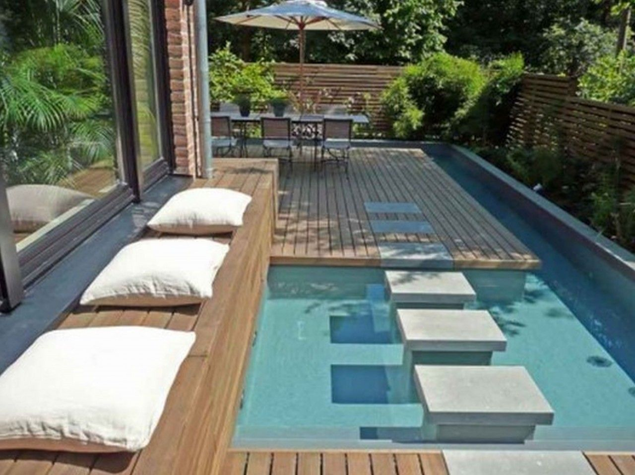 35 Small Backyard Swimming Pool Designs Ideas You Ll Love Homelovers Small Backyard Pools Modern Landscape Design Backyard Landscaping Designs
