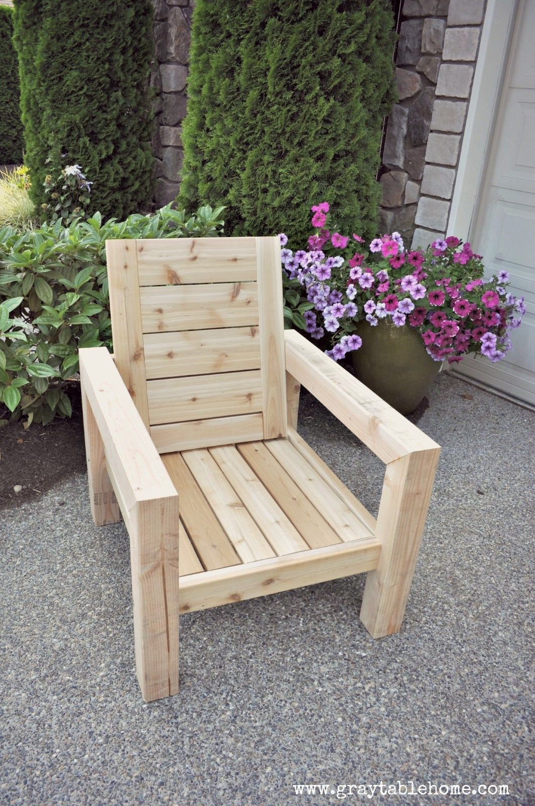 DIY Modern Rustic Outdoor Chair plans using outdoor