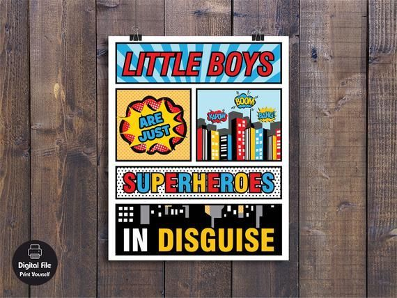 Little Boys Are Just Superheroes In Disguise - Boys Play Room Wall Art, Printable Nursery Decor, Sup #howtodisguiseyourself Little Boys Are Just Superheroes In Disguise - Boys Play Room Wall Art, Printable Nursery Decor, Sup #howtodisguiseyourself