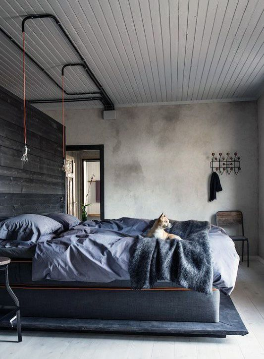80 Bachelor Pad Men S Bedroom Ideas Manly Interior Design Industrial Decor Bedroom Industrial Style Bedroom Bedroom Interior