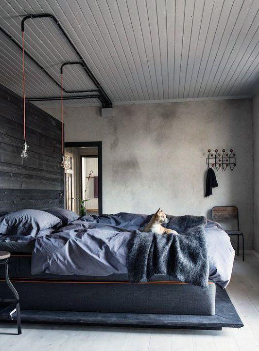 80 Bachelor Pad Men S Bedroom Ideas Manly Interior Design Industrial Decor Bedroom Industrial Style Bedroom Industrial Bedroom Design