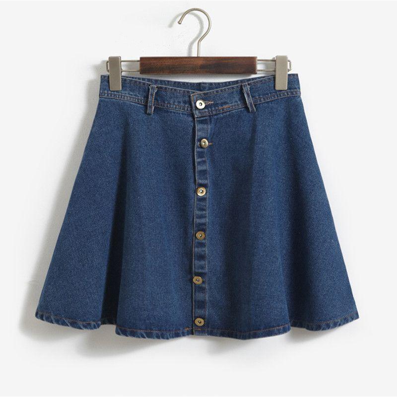 2016 Summer Casual Women's Skirt American Apparel Button High Waist Skirts  Short Denim Skirts for Women Retro Jean Miniskirt Price: USD