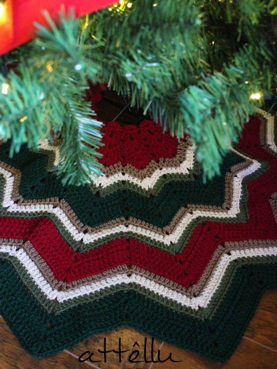 Mini Christmas Tree Skirt Pattern.Christmas Tree Skirt In Ripple Style Vintage Christmas In