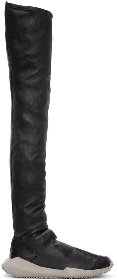 701b33475d8 Rick Owens Black adidas Edition Stretch Tech Runner Over-the-Knee Boots