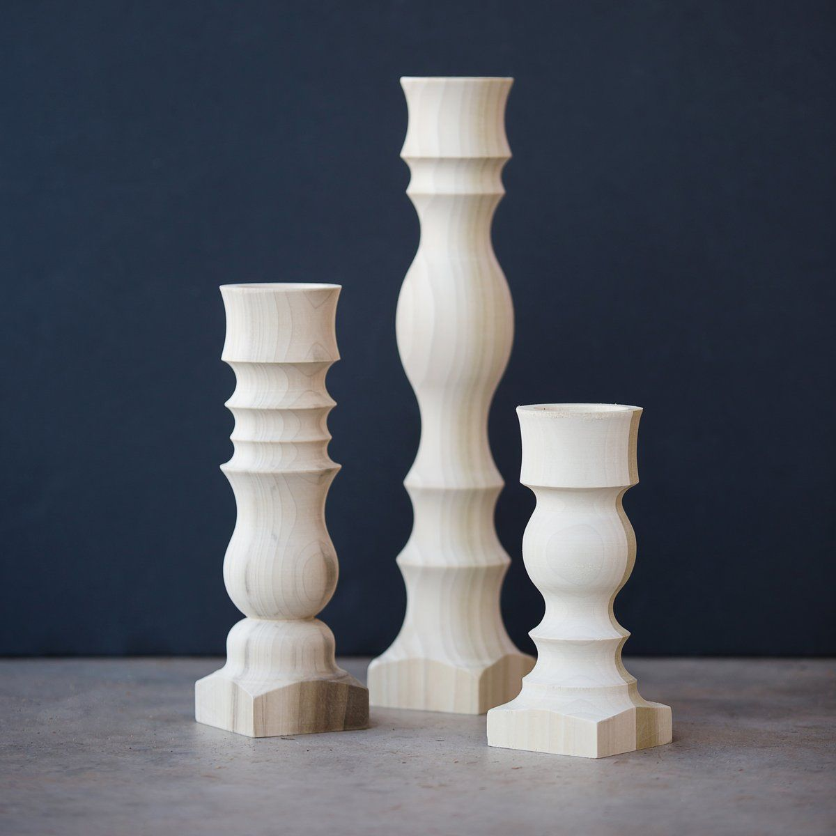 Hdc Signature Candlestick Unfinished In 2020 Candlesticks Wood Candle Sticks Harp Design Co