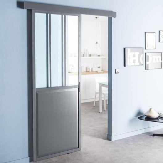 Porte Coulissante Aluminium Atelier Verre Clair Gris ARTENS H X - Porte placard coulissante avec serrurier paris 17eme