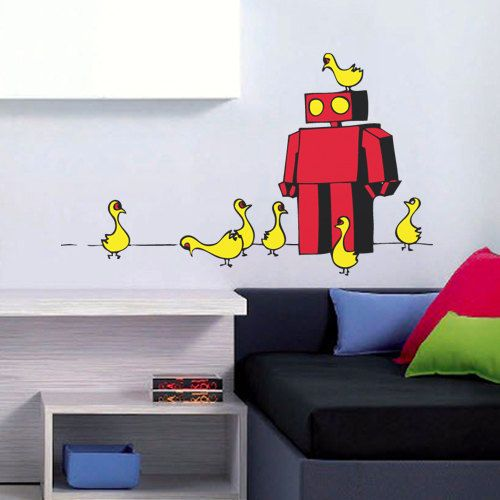 Robot with Friends Wall Decal Art Home Deco by LifeColorsCity ...