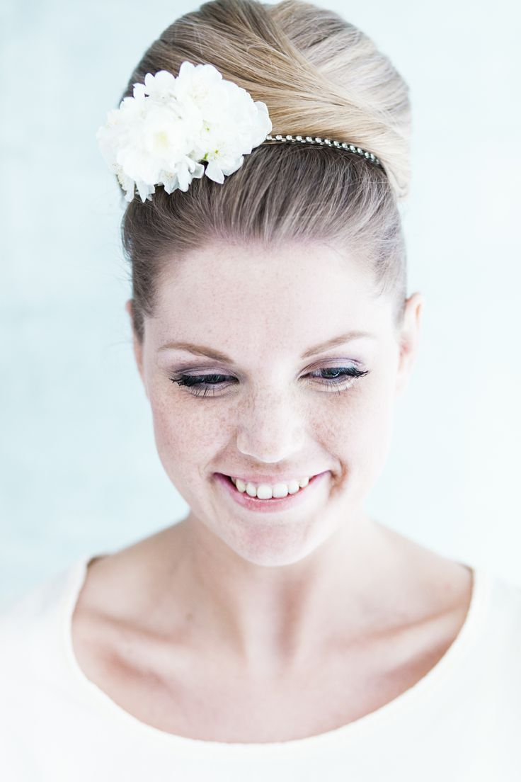 Bridal Hair Accessories For Buns : High bridal bun with floral hair accessory we this