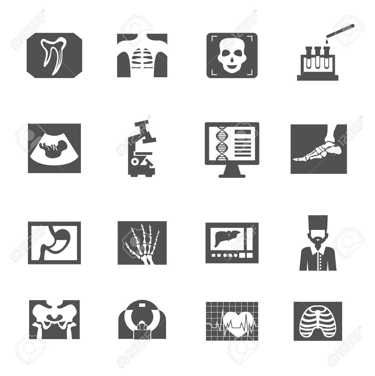 Ultrasound And X Ray Medical Equipment Icons Black Set