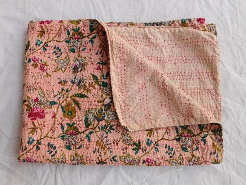 Indian Handmade Bohemain Beddding Bedspread Kantha Throw Quilt Cotton Kantha Bird of Paradise Queen Size  Home Decor Kantha Quilt