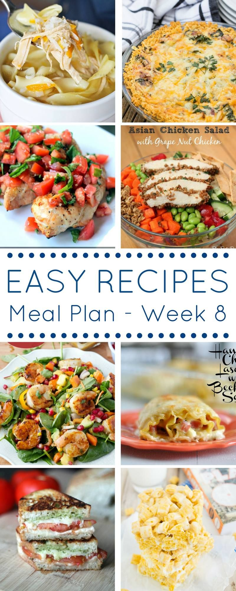 Make getting dinner on the table each night with our weekly easy dinner recipes meal plan. Week 8 is full of delicious options.