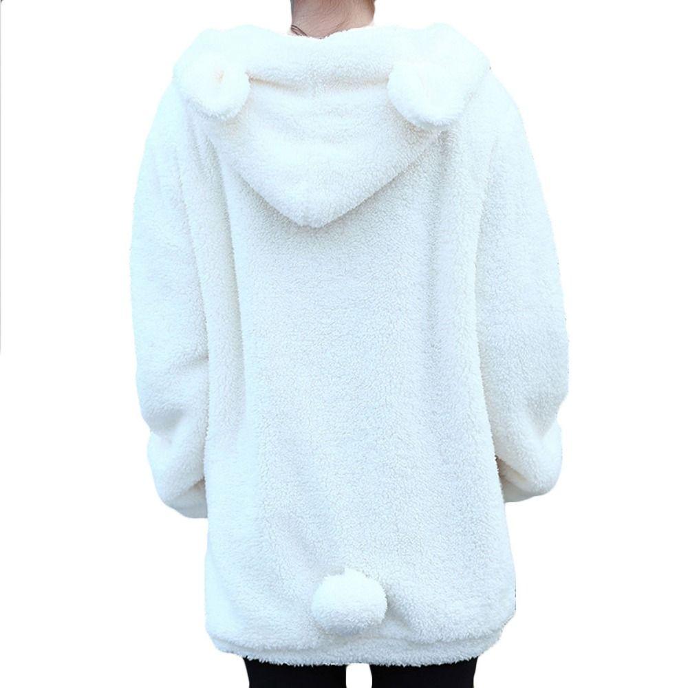 hot sale 2017 new winter women coat Loose Fluffy cute Bear Ear ...