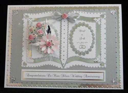 Personalised silver 25th wedding anniversary card boxed wife husband