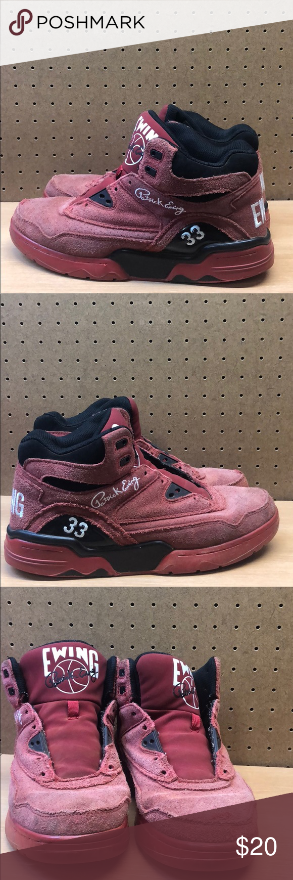 41ce2b1a32d Patrick Ewing Red Suede Sneakers Men s sz 9.5     Missing Shoe Laces These  look decent despite lots of wear and tear (see pics) Size 9.5 Men s Missing  ...