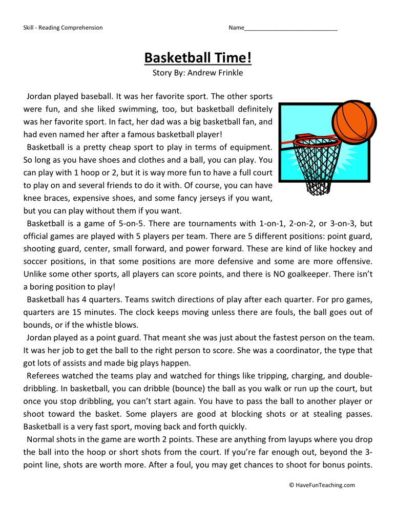 Reading Comprehension Worksheet – Basketball Time | Quote s | Pinterest