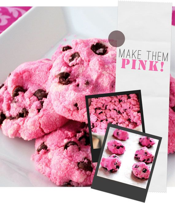 Pink Chocolate Chip Cookies. These would be super cute at the office ...