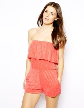 25f35beec2 ASOS Frill Bandeau Towelling Beach Playsuit