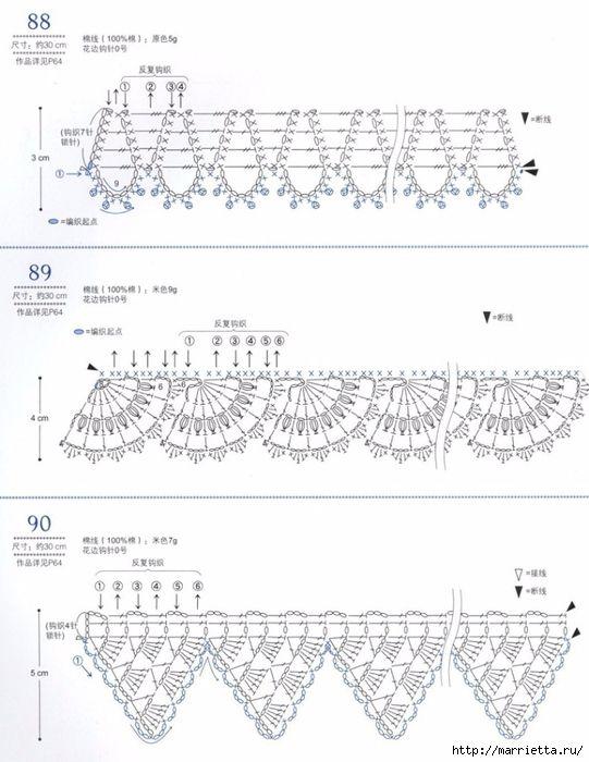 Кружевная тесьма крючком. Схемы (9) (541x700, 213Kb) | diy ...