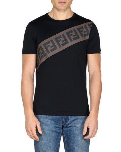 9f75935cd8d ... fendi men s diagonal ff logo crewneck t shirt products in 2019 ...