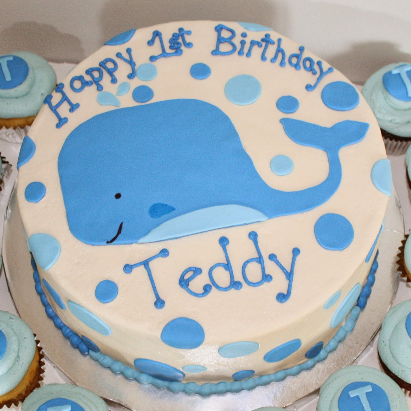 Kake Blue Whale Cake Cupcakes Dommys 1st Birthday Party