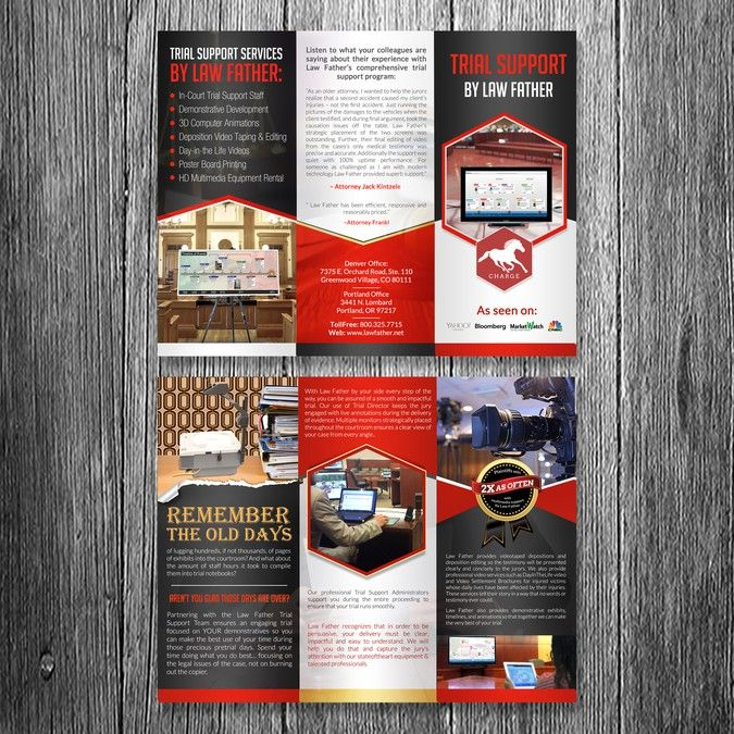 Create an Elite Brochure for Law Firm Technology Trial Support by - law firm brochure