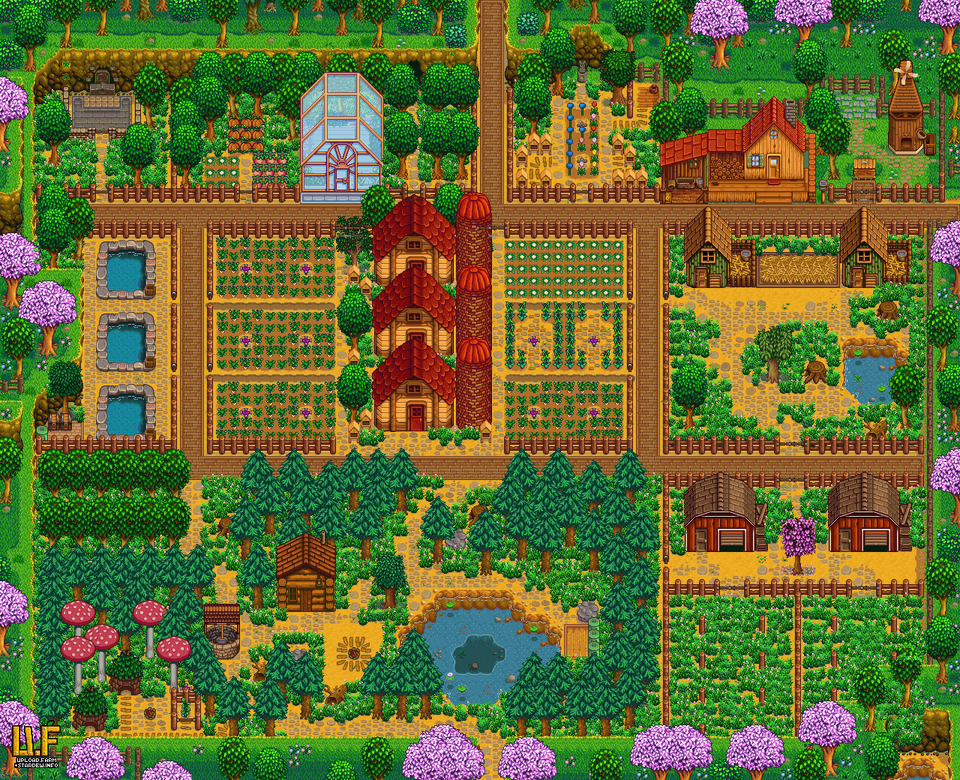 Crosspost This Is My 1 4 Plan For An Aesthetic And Completionist Farm Stardewvalley Stardew Valley Farm Layout Stardew Valley Layout