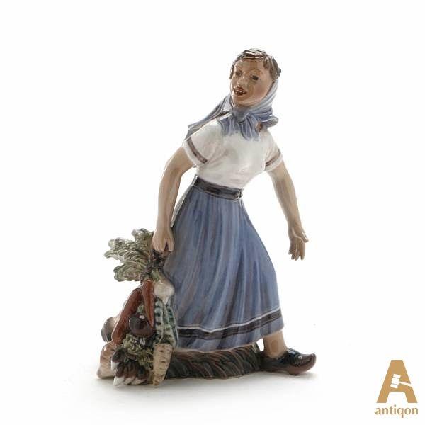 """Девушка с овощами. Клеймо мануфактуры """"Rosenthal"""", Скульптор Dahl Jensen, 1928-1960 годы."""