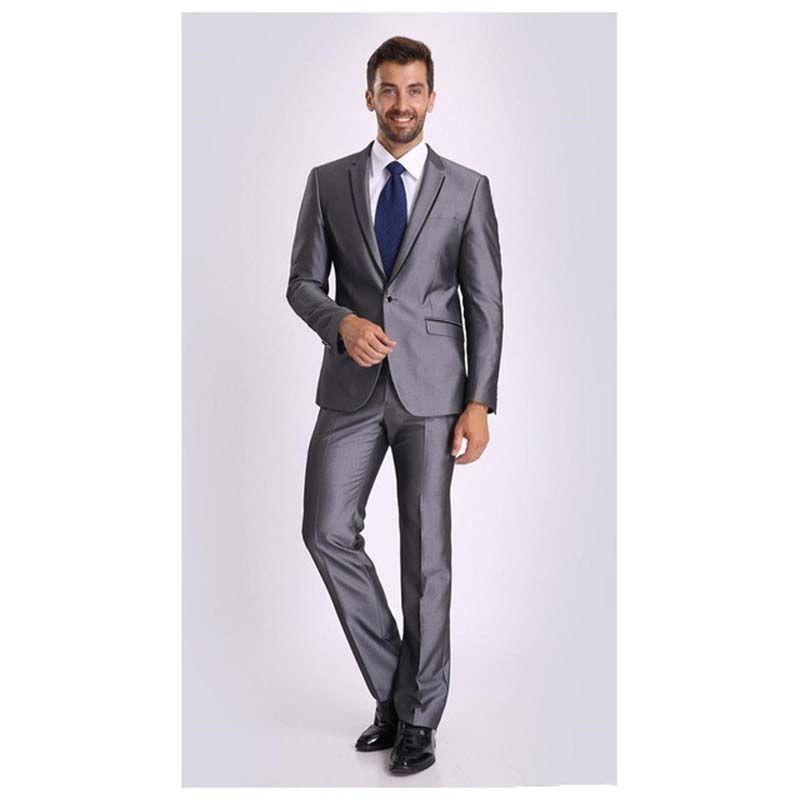 2017 shiny Grey Tuxedos Custom Made Mens Business suit Dress Wedding ...