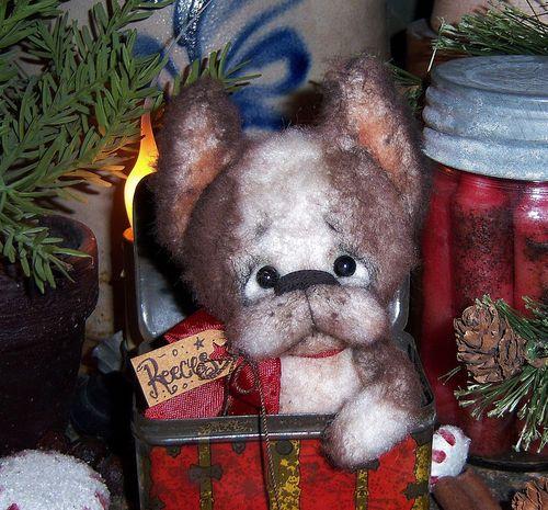 "Boston Terrier French Bulldog 5"" Doll ★ Dog Ornament Vtg Patti's Ratties Bear  For ordering information contact me at pattisratties3d@yahoo.com"