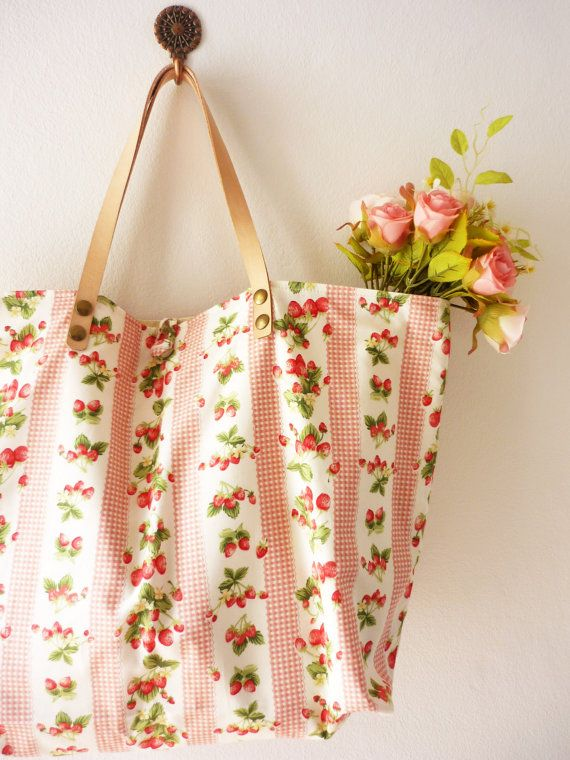 Amor Cottage Chic Tote Bag Strawberry Cotton Bag by Amordress