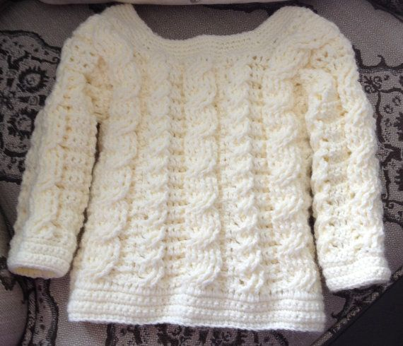 Baby Crochet Cable Sweater Knit Look Irish By Chainstitchers 52 00 Crochet Cable Crochet Cable Stitch Aran Sweater