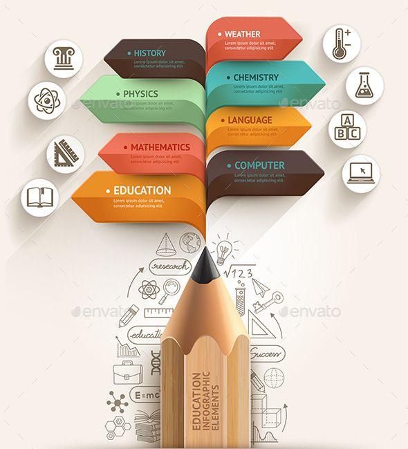Education Pencil Arrow Infographics Template | Best Infographics ...