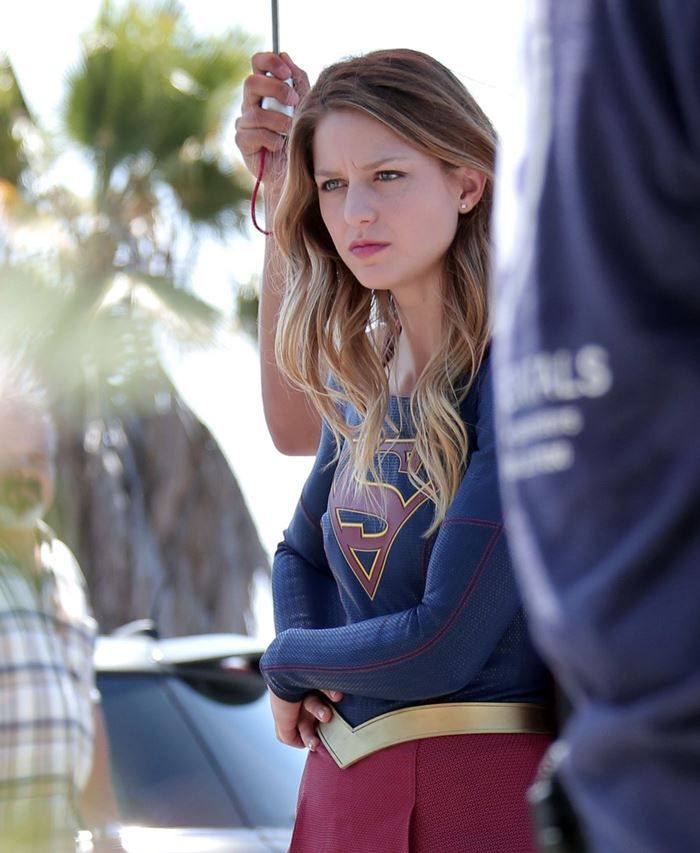 Melissa Benoist seen on the set of Supergirl in Los Angeles. Spotted in…