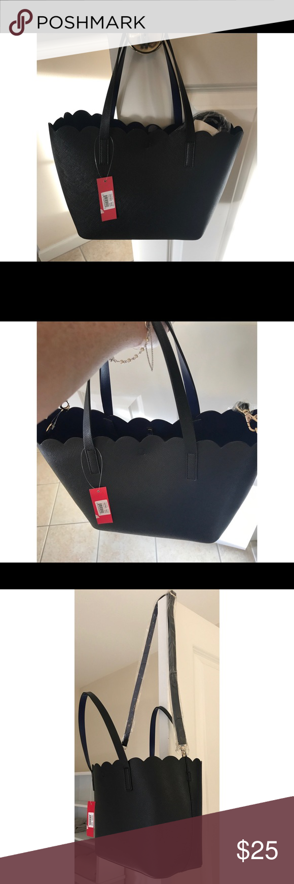 Kelly Katie Purse Bnwt And Black Handbag With A Cobalt Blue Interior Handles As Well Shoulder Strap Toggle Closure