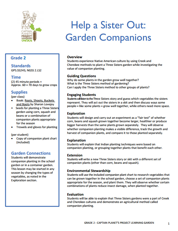 Second grade Native American lesson plan using companion gardening – Gardening Lesson Plans