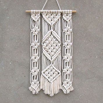 Boho Wall Hanging triptych wall art decoration wall hanging macrame decor woven