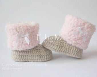 Baby Shower Gifts To Mail ~ Unisex baby booties crochet baby shoes 0 3 3 6 months cream
