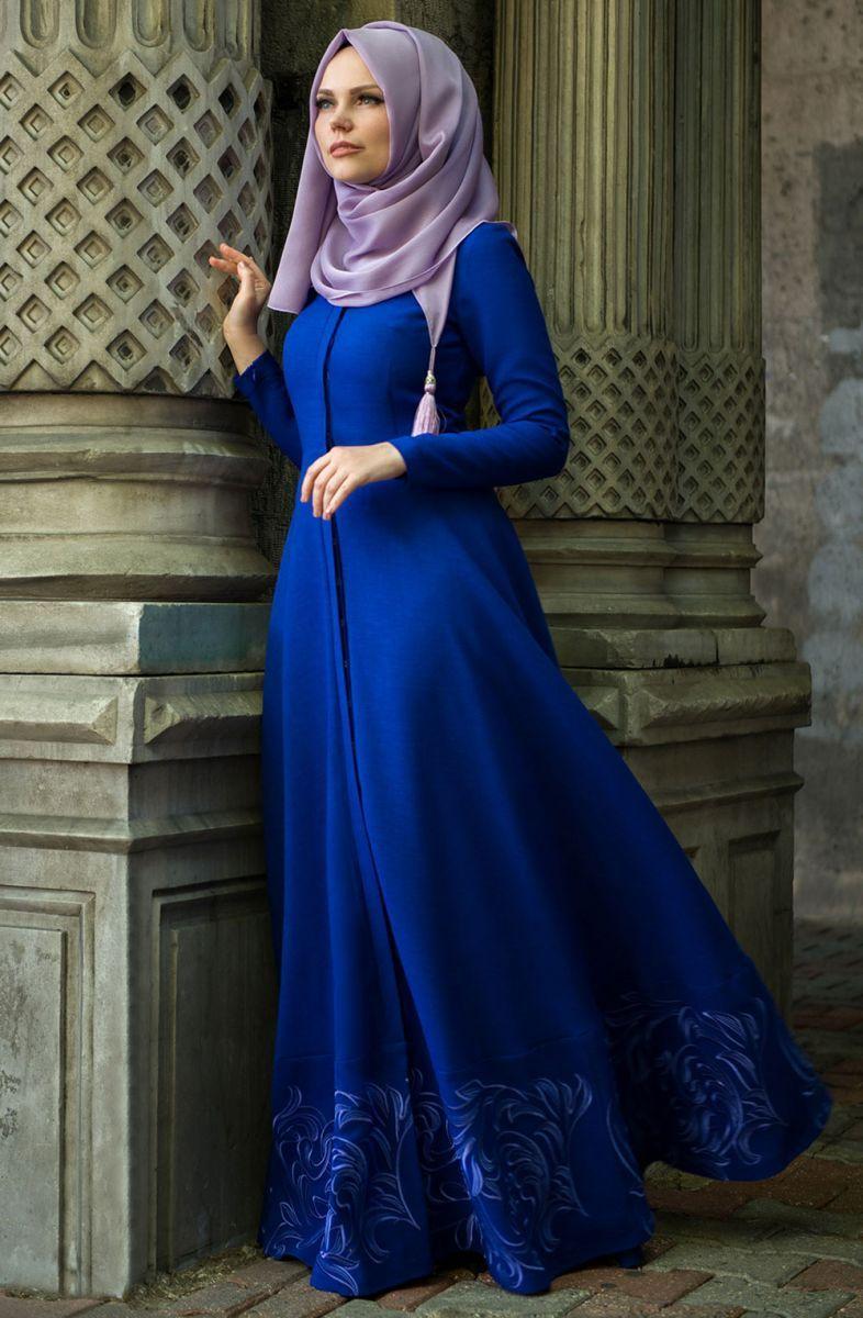 Muslima Wear Etegi Volanli Elbise 35008 Saks Yeni Sezon Muslima Wear Tesettur Elbise M Muslim Women Fashion Blue Dress Outfits Latest African Fashion Dresses