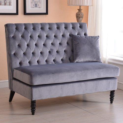Superb Belleze Modern Button Tufted Settee Bedroom Bench Loveseat Sofa Velvet, Gray