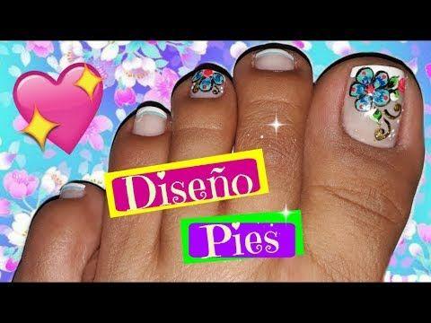 Decoraci n de u as pies f cil easy flowers toenail art youtube u as en 2019 u as u as - Decoracion facil de unas ...
